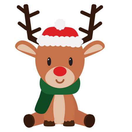 Illustration pour isolated Cartoon cute reindeer sit christmas- Vector - image libre de droit