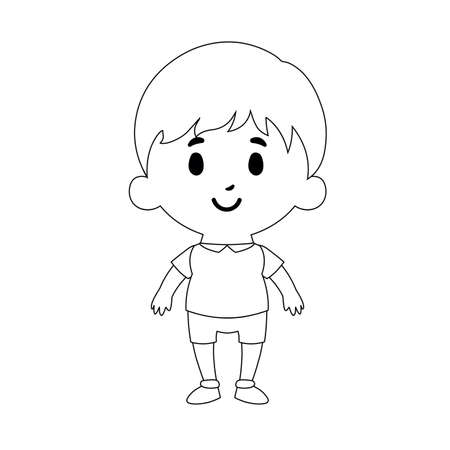 Illustration for Isolated Cartoon Kid Character european boy draw - Vector - Royalty Free Image
