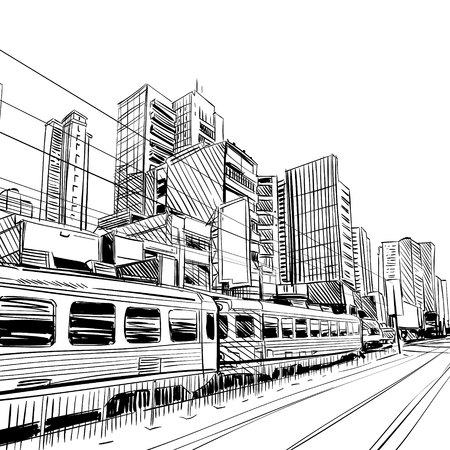 China city sketch, design. illustration