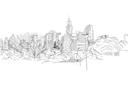 Illustration pour Sao paulo. Brazil South America Hand drawn city sketch. Vector illustration. - image libre de droit