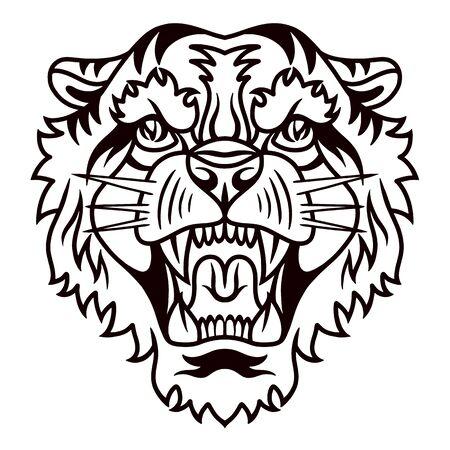 Illustration pour Tiger old school hand drawn retro style. Design element for poster, card, banner. Vector illustration. - image libre de droit