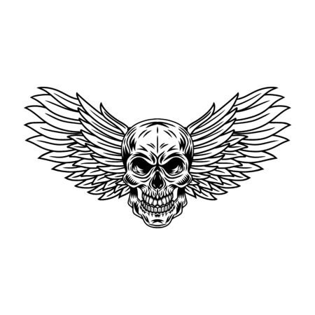 Illustration pour Vintage winged skulls isolated retro vector illustration on a white background. Great design for any purposes. - image libre de droit
