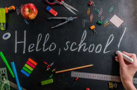 Photo pour back to school on September 1 stationery on a black background with copy space - image libre de droit