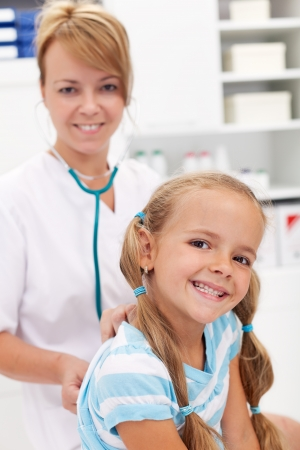 Little girl smiling at the doctor - back after recovery for a checkup