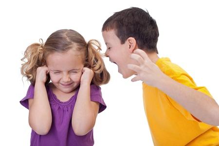 boy shouting to girl