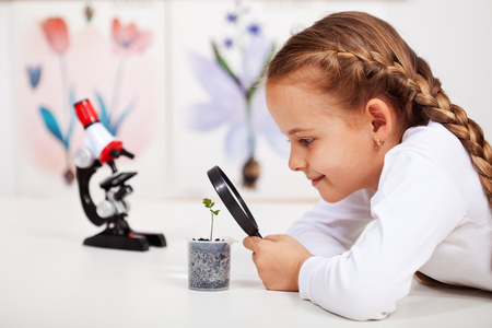 Young student studies small plant in elementary science class