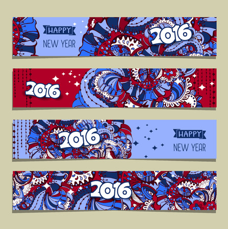 2016 xmas, Happy Nw Year and Merry Christmas banner templates set with hand drawn style ornament and typography inscription.Vector illustration.