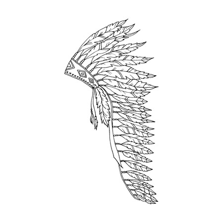 Illustration pour American Warbonnet Outline Drawing. Eagle Feather hat coloring page fashion accessory. Native Indian Headdress. Thanksgiving and Halloween Vector Costume Illustration. - image libre de droit