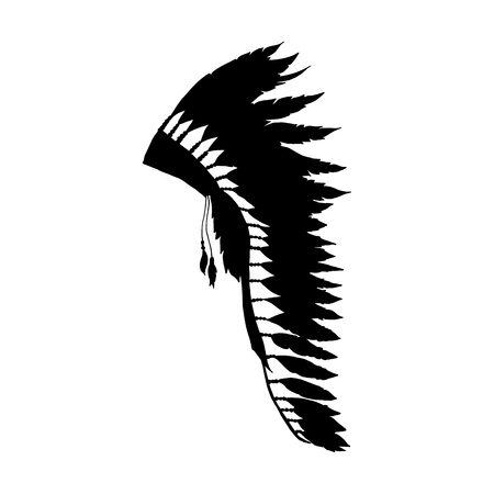 Illustration for American Warbonnet Silhouette for Laser Cutting or Craft. Eagle Feather hat fashion accessory. Native Indian Headdress. Thanksgiving and Halloween Isolated Vector Costume Illustration. - Royalty Free Image