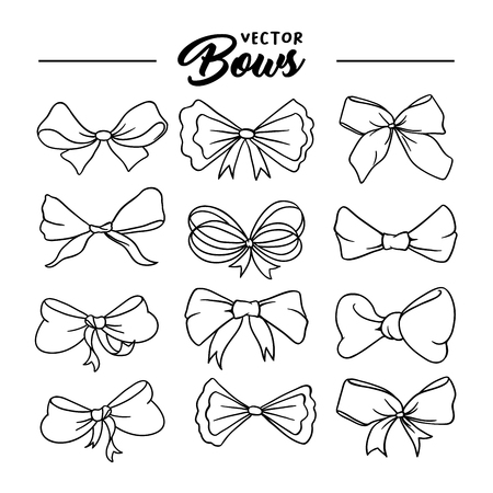 Illustration pour Bows handdrawn illustrations set. Ribbon knots linear drawings. Ink pen bowknots contour cliparts. Bow-tie sketches outline collection. Coloring book, greeting card thin line isolated design elements - image libre de droit