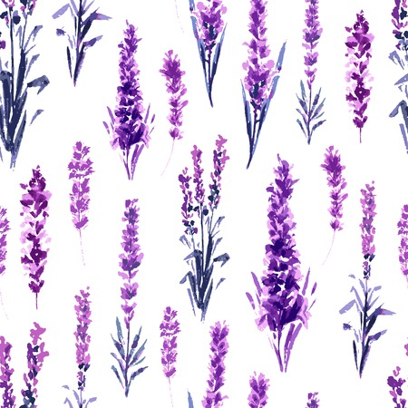 Illustration pour Lavender Field Seamless Pattern. Watercolor or Aquarelle Paintings of Provence Lavandula. Hand Drawn Tea Herbs Flower. Summer Blossom or Foliage of Garden Plant in Aquarelle. Nature and Perfume. - image libre de droit