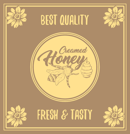 Illustration pour Honey Bee Poster Design with Sketch Circle Logo and Honeycomb Elements. Yellow Vintage Hand Drawn Illustration. Handcrafted Lettering. - image libre de droit