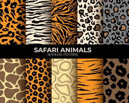 Illustration pour Animal fur seamless pattern backgrounds, vector set of leopard, tiger, zebra and giraffe skin print. African animals fur pattern, abstract simple brown stripes, spots and lines, natural texture fabric - image libre de droit