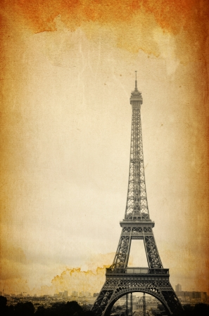 retro style Eiffel Tower (nickname La dame de fer, the iron lady),The tower has become the most prominent symbol of both Paris and France