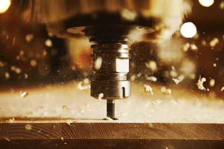 Photo for Close-up shot of machine with numerical control cuts wood. Cnc tool. - Royalty Free Image