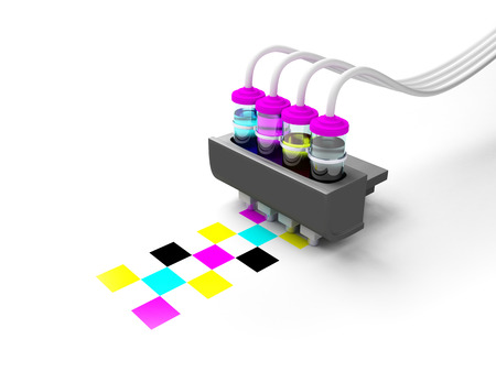 Concept cmyk model  Print cartridge with ink in glass bottles on a white background