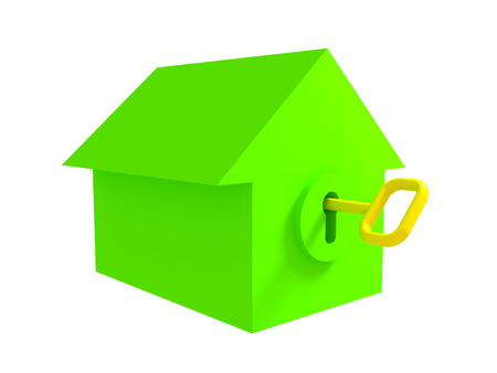 Green house with inserted gold key, white background