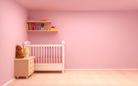 Baby s bedroom with commode and bear  Pastel colors, empty room