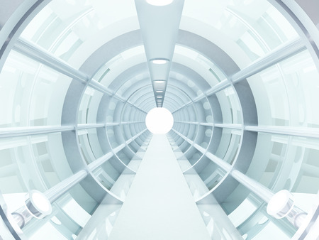 Futuristic tunnel of steel and metal, interior view  Futuristic background, business concept
