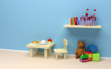 Children s room with toys  A blank wall, a table with coffee and books, the castle on the shelf, teddy bear, train and cubes