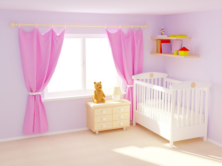 Photo for Babys bedroom with commode and bear. Pastel colors, empty room - Royalty Free Image