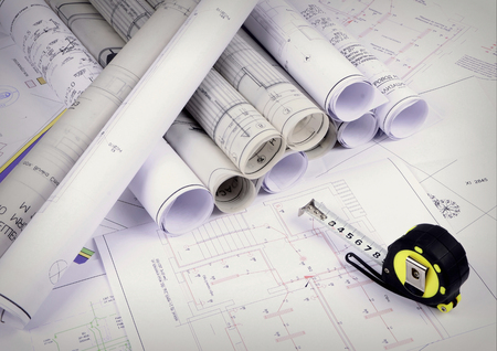 Photo for Architectural plans of the old paper ,tracing paper - Royalty Free Image