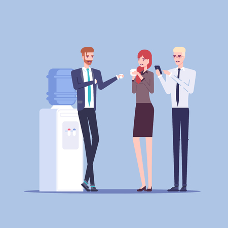 Illustration pour Young male and female office workers having informal conversation next to the watercooler, colleagues communicate with each other during a break vector flat illustration. Office cooler chat. - image libre de droit
