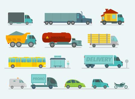 Transportation set. Trucks end bus, passenger cars. Vector illustration