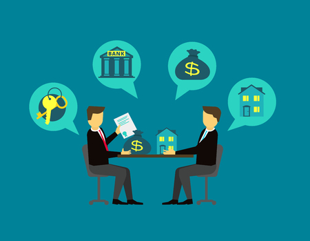 Deal with the real estate. The buyer and seller deal at the negotiating table. illustration