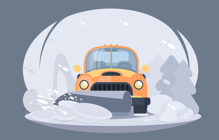 Illustration pour Process of snow removal from road. Pick up truck with snowplow. Winter highway service. Flat vector illustration - image libre de droit