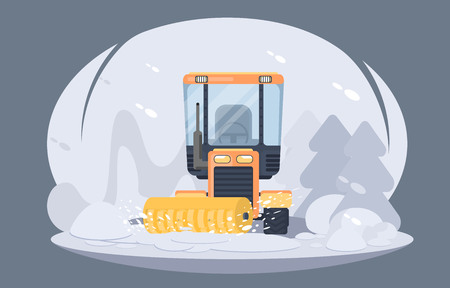 Illustration pour Process of snow removal from road. Tractor with snowplow brush. Winter highway service. Flat vector illustration - image libre de droit