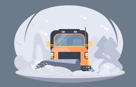 Illustration pour Process of snowplowing road. Winter highway service. Flat vector illustration. - image libre de droit