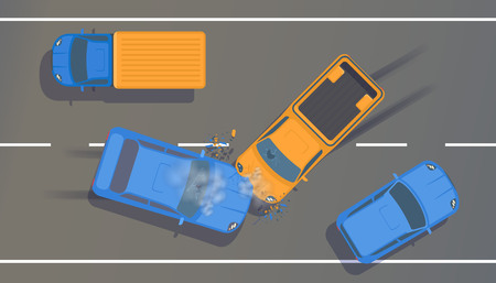 Illustration pour Road accident between two cars with crumpled wings and bumpers, broken windows and braking. - image libre de droit