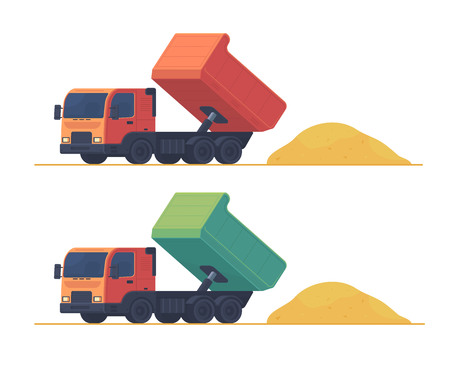 Illustration for Dumper truck. A set of trucks, unloading and carrying soil and construction materials on building site. Vector illustration isolated on white. - Royalty Free Image