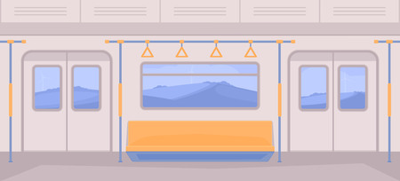 Illustration pour Subway train car inside. Interior with seats, a door for entrance and exit, handrails, window. Nature landscape background. - image libre de droit