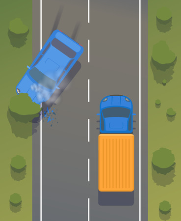 Illustration pour Road accident on road between cars and trees with crumpled wings and bumpers, broken windows and braking. And smoking cars. - image libre de droit