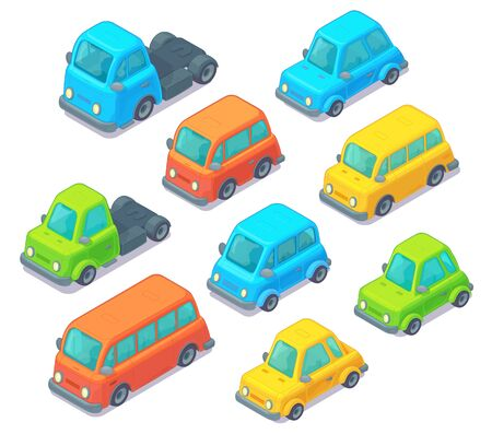 Illustration pour Set of isometric cars. Cartoon style. City transport including car, bus and truck. Isolated on white background. - image libre de droit
