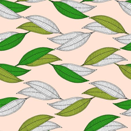 Illustration for Plumeria horizontal abstract leaf seamless pattern. Isolated green and white leaves on a beige background. - Royalty Free Image
