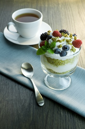 Picture of parfait and cup of tea.