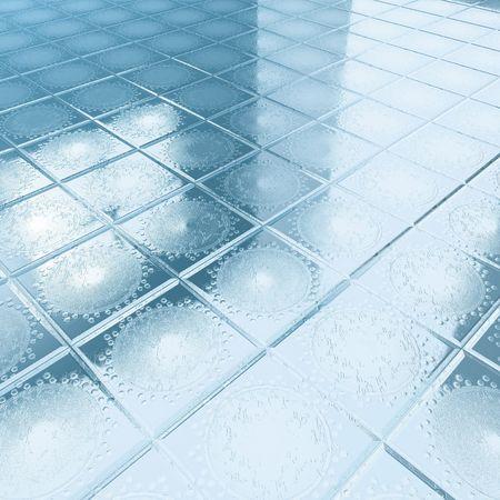 floor blue tiles