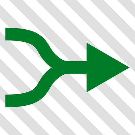 Combine Arrow Right vector icon. Image style is a flat green pictogram symbol on a hatched diagonal transparent background.