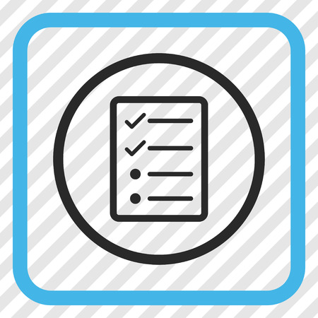 Checklist Page blue and gray vector icon. Image style is a flat iconic symbol in a rounded square frame on a transparent diagonally hatched background.