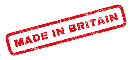 Made In Britain text rubber seal stamp watermark. Tag inside rectangular shape with grunge design and dirty texture. Slanted vector red ink emblem on a white background.