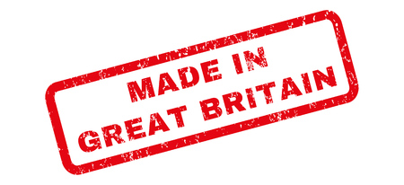 Made In Great Britain text rubber seal stamp watermark. Caption inside rectangular shape with grunge design and scratched texture. Slanted vector red ink emblem on a white background.