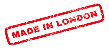 Made In London text rubber seal stamp watermark. Caption inside rectangular shape with grunge design and scratched texture. Slanted vector red ink emblem on a white background.