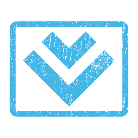 Shift Down rubber seal stamp watermark. Glyph icon symbol inside rounded rectangular frame with grunge design and unclean texture. Scratched blue ink sign print on a white background.
