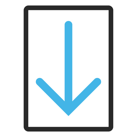 Arrow Down glyph icon. Image style is a flat bicolor icon symbol inside a rounded rectangular frame, blue and gray colors, white background.