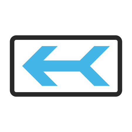 Arrow Left glyph icon. Image style is a flat bicolor icon symbol in a rounded rectangle, blue and gray colors, white background.