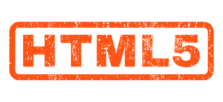 Html5 text rubber seal stamp watermark. Caption inside rectangular shape with grunge design and scratched texture. Horizontal vector orange ink sign on a white background.