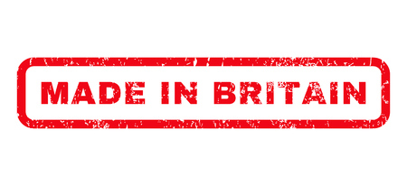 Made In Britain text rubber seal stamp watermark. Caption inside rounded rectangular shape with grunge design and unclean texture. Horizontal vector red ink sign on a white background.